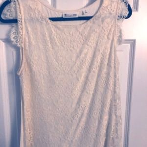 New York & Co White lace sleeveless top